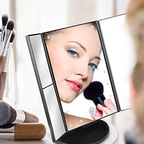 CocoBear Espejo de Maquillaje, Regalos Espejo de Mesa Adjustable 180º con Luz Espejo Cosmético Plegable con Iluminacíon 21 Led Carga con USB o Batería El Favorito de La Mujer Aumentos1x/ 2X/ 3X(Negro)