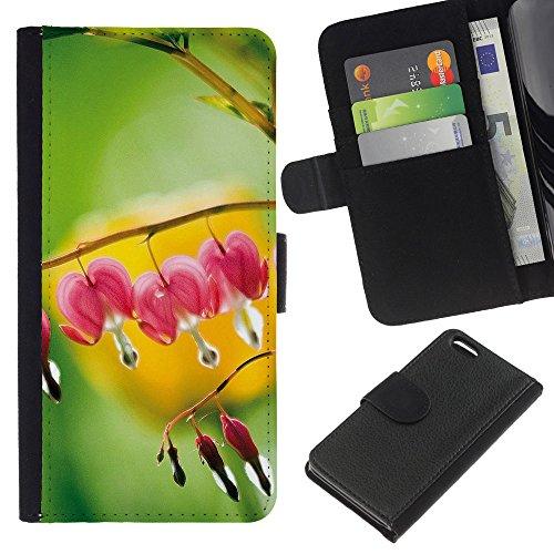 Ihec-Tech / Flip étui Housse en cuir avec des fentes de cartes pour Apple iPhone 5C - Plant Nature Forrest Flower 109