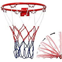 Aro de Baloncesto para niños, aro de Baloncesto con aro de Baloncesto montado en la Pared con Tornillo de Red para Interiores y Exteriores