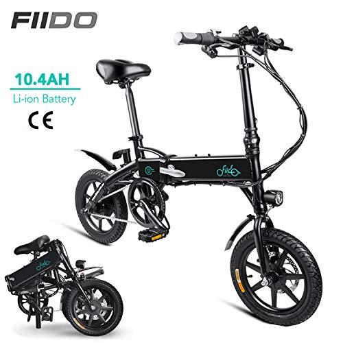 FIIDO D1 Ebike Faltbares elektrisches Fahrrad faltendes Moped-elektrisches Fahrrad Efahrrad für Erwachsenen (D1-10.4Ah - Schwarz)