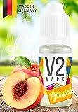 V2 Vape E-Liquid Pfirsich - Luxury Liquid für E-Zigarette und E-Shisha Made in Germany aus natürlichen Zutaten 50ml 0mg nikotinfrei