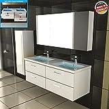 bad1a Doppelwaschbecken mit Unterschrank Waschtisch mit Lotuseffekt Weiß Badmöbel mit Soft-Close Funktion Handwaschbecken