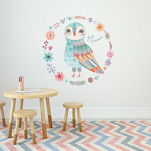 Kinderzimmer OWLDREAM | Eule - Verspielt & trendy | 60cm Durchmesser bunt | | Wanddeko | Wand-Sticker | Wandaufkleber | Dekoration | Babyzimmer | Eulenwandtattoo ()