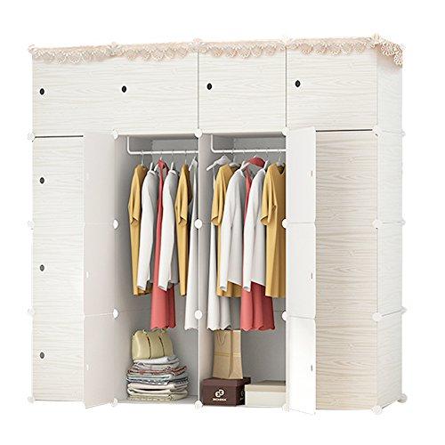 ETTBJA DIY Kunststoff Schrank Portable Wooden Pattern Kleiderschrank mit Türen Lagerung ihre eigenen (16 Würfel mit 3 hangers)