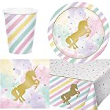 Party Bags 2 Go unicornio DESTELLOS Vajilla para fiesta para 8