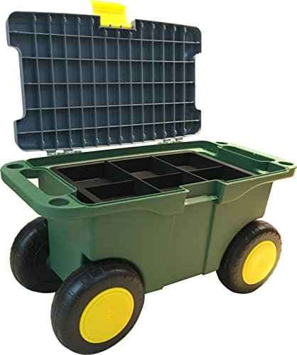 UPP Garten Roll-Sitzbox mit Staufach, ideal auch als Outdoor Werkzeugwagen | Der Rollwagen ist der rückenschonende Gartenhelfer beim Beet bepflanzen | Bis 90 KG belastbar | Sitzhöhe 29 cm -