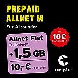 congstar Prepaid Allnet M Paket [SIM, Micro-SIM und Nano-SIM] – Das Prepaid-Paket für Allrounder D-Netz-Qualität