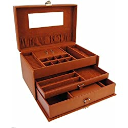 Jewelry 3 large drawers with 1 handle and mirror Size: U Color: CHESTNUT