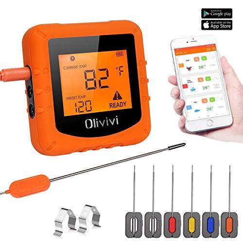 TURATA Olivivi Bluetooth Küchenthermometer Digital Fleischthermometer Grillthermometer Einkochthermometer Outdoor Bratenthermometer für BBQ Grill Ofen...