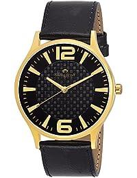 Swisstone GR120-BLACK Black Dial Black Leather Strap Wrist Watch For Men/Boys