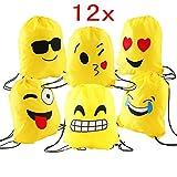 d6a4b5ae2f JZK 12 pezzi Emoji zaino con coulisse sacchetto del PE per bambini e adulti  festa di