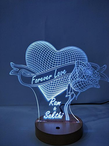 DESIGNELLE Acrylic Personalized 3D Illusion LED Lamp Single Colour (Wooden, 8x10-inch)