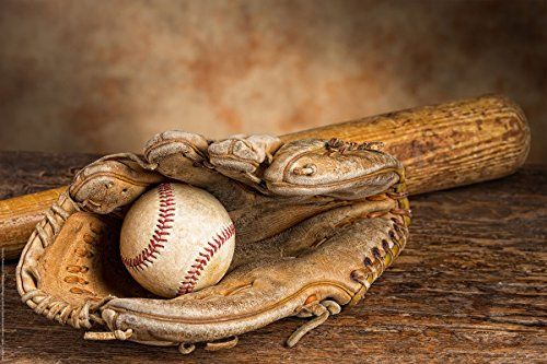 Postereck - 0505 - Baseball Handschuh Ball und Schläger - Poster 3:2 - 30.0 cm x 20.0 cm