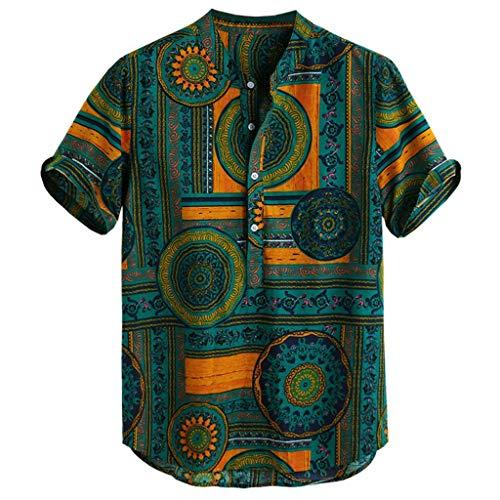 Amphia - Herren Leinenshirt,Herren Baumwolle Leinen gedruckt Kurzarm Casual Henley Shirts Krawatte Sommer Tops - Überprüfen Sie Classic Fit Shirt