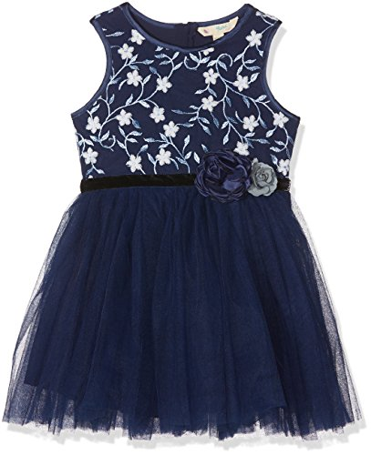 b85b212db5 Uttam Boutique ICY Floral Embroidered Robe, Bleu Marine, 7-8 Ans Fille