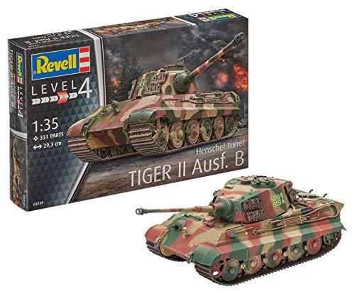 Revell Modellbausatz Panzer 1:35 - TigerII Ausf.B (Henschel Turret) im Maßstab 1:35, Level 4, originalgetreue Nachbildung mit vielen Details, 03249 (Die Modell Deutsche Panzer)