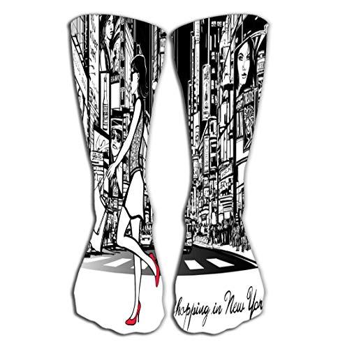 Xunulyn Hohe Socken Women Sport High Stockings Novelty Crew Socks 19.7