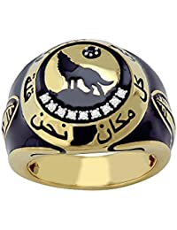 Lolls 0.28 CT Round Cut CZ Studded Wolf Ring 14k Yellow Gold Over 925 Sterling Silver For Men [LOLLS_AMR2257_Y]