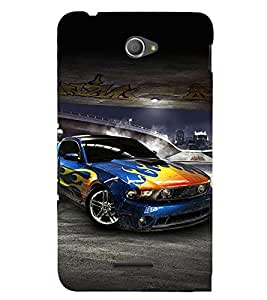 Sports Car 3D Hard Polycarbonate Designer Back Case Cover for Sony Xperia E4 Dual