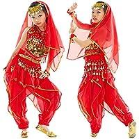 Calcifer - Conjunto de 7 Piezas de Disfraz de Danza del Vientre, Cadena de Cabeza, Velo de Cabeza, Parte Superior, Pantalones, Bufanda de Cadera, 1 par de Pulseras, Large, Rojo