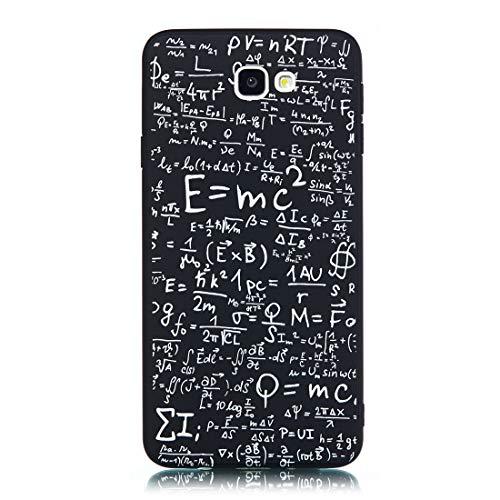 Chreey Hülle für Samsung Galaxy J5 Prime / On5 (2016), Anti-kratzt Schwarz 3D Drucken Muster Handyhülle Weiche Silikon TPU Rückseitehülle Bumper Schutzhülle, Gleichung