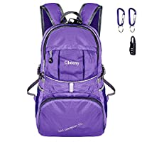 Gkeeny Lightweight Foldable Backpack 35L Ultralight Waterproof Travel Hiking Camping Outdoor Rucksack Daypack [Purple]