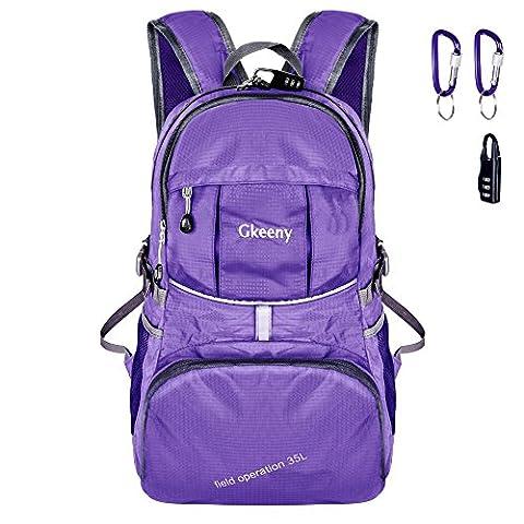 Gkeeny Ultralight Sac à dos 35L pliable imperméable Nylon Unisex sac à dos Sacs à bandoulière extérieur sac de voyage Camping randonnée sac à dos [Violet]