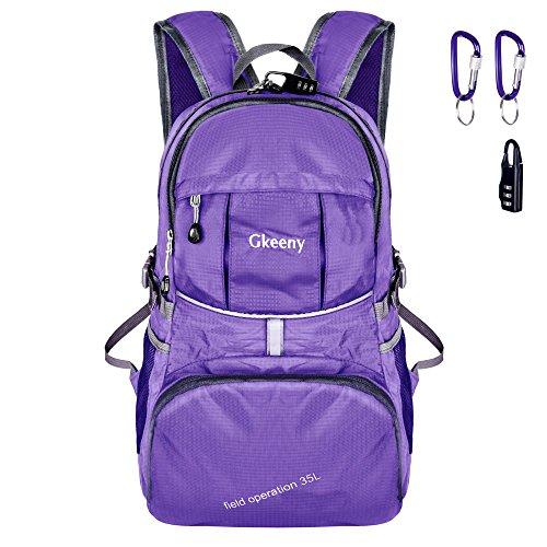 Gkeeny Leichter Rucksack 35L Tagesrucksack Ultraleicht Faltbarer Wanderrucksack Reiserucksack Daypack für Männer Frauen und Kinder für Outdoor Wandern Camping Reisen (Lila)