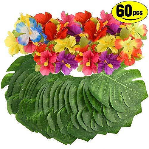 SunTop 60 Stück Tropical Simulation Hibisku Party Dekoration liefert Tropical Palm Monstera Blätter und Hibiskusblüten, Simulation Blatt für hawaiische Luau Party Jungle Beach Thema Tischdekoration