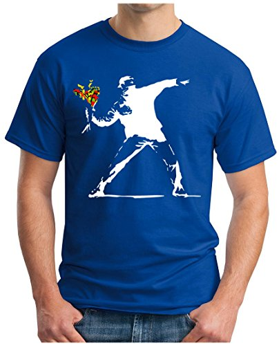 OM3 - BANKSY FLOWER THROWER - T-Shirt URBAN Street Art PEACE PAIX PUNK INDIE KRITIK GEEK, L, royalblau