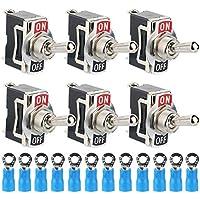 TOOHUI 6 Pcs Interruptor Conmutador, Conmutador de Palanca SPST AC125V 10A/AC250V 6A,