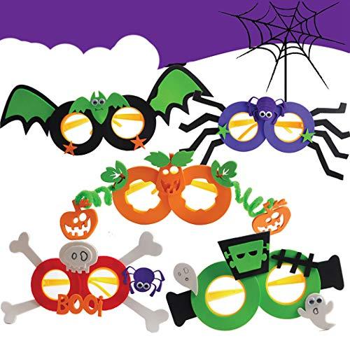 JUSTDOLIFT Party BriJUSTDOLIFT Party Brillen 5 Paar Lustig Halloween Brillen für Kinder Neuheit Brillen Party Halloween Kostüm Brille Unisex-Kinder DIY Scherzbrillen (DIY Scherzbrillen)