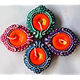 BHARATSTALL | Handcrafted Colourful LEAF SHAPED Designer Terracotta Diya| For Laxmi Puja(set Of 4) MADE IN INDIA| WAX IN