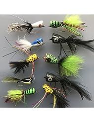 Pêche basse Pike mouches Lot de 10 boutons pression Taille 4 à l'eau salée truite Perche