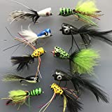 Angeln Bass Pike Fliegen 10 Stück Poppers Größe 4 Sole Forelle Sitzstange