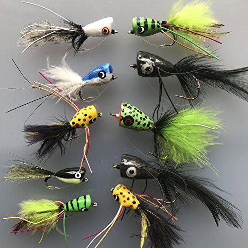 Pesca Bass Pike moscas 10 unidades Poppers tamaño 4 salada Trucha Perca unidades