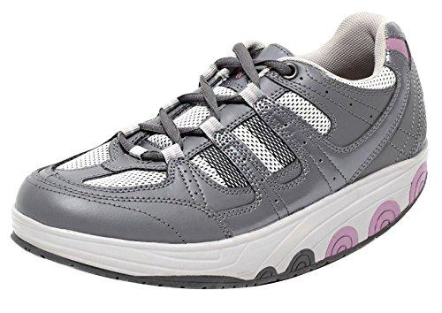 AKTIV Damen Schuhe mit Spezial Rundsohle Gondelsohle Gondelschuhe Gr. 37-40 Freizeitschuhe Komfortschuhe Outdoor Walking weiß grau Silber metallic (Mbt-walking-schuhe)