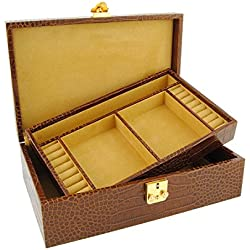 Leather Jewelry Box 1 tray engraved coconut
