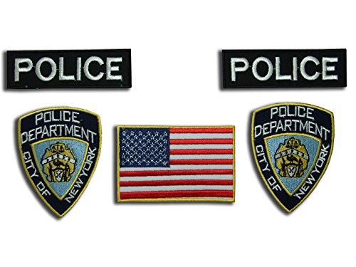 CSI NEW YORK Cops – NYPD Fancy Dress Patch Set, 5 Eisen auf Buttons von (Fancy Cops Dress)