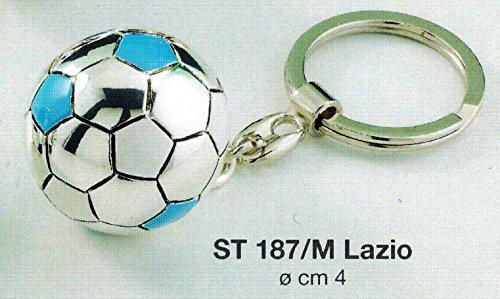 Portachiavi pallone squadra calcio lazio napoli d cm4 laminato argento made in italy