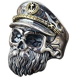 WWII Oficial con sombrero plata de ley 925 negro para hombre ajustable