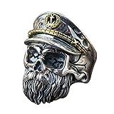 WWII Oficial Anillo de calavera con sombrero plata de ley 925 negro para hombre ajustable