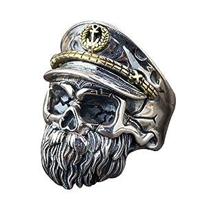 Einzigartige Zwei Ton 925 Sterling Silber Bart Totenkopf Ring für Herren Damen Verstellbar 58-65