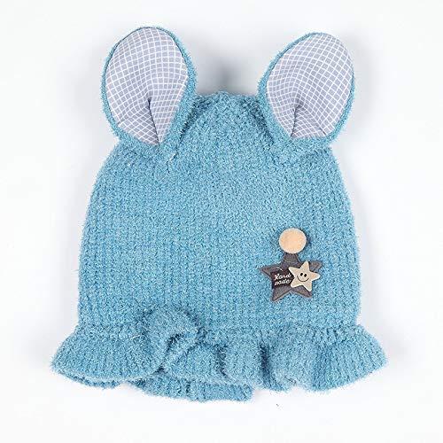 geiqianjiumai Neuer Babyhut 3-12 Monate weibliches Babyprinzessinhutkindwolleknithutmädchen-Kopfkappenblau -