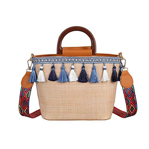 ZYUEER Handtaschen Damen Umhängetasche Vintage Frauen Strand Stroh Tasche Ethnischen Wind Ribbon Fringe Strandtasche Schultertasche