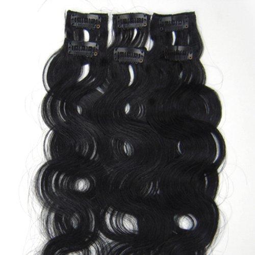 100% cheveux remy Lot de 6 50,8 cm Jet Noir (# 01) ondulés Cheveux Clip dans Extension de cheveux humains Poids : 36 G