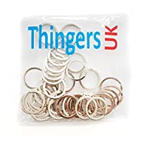 Thingers UK 25mm Flat Split Rings - Steel Key Rings - Pack of 100
