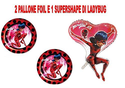 PARTY STORE WEB by casa dolce casa Ladybug Miraculous Fußball Foil Luft Oder Helium Party Dekoration und Tisch-CDC (2Bälle Foil, 1Ball Supershape)