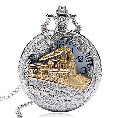 TOOGOO Reloj de Bolsillo de Cuarzo Hueco Locomotora de Tren de Oro Caja de Plata Vintage...