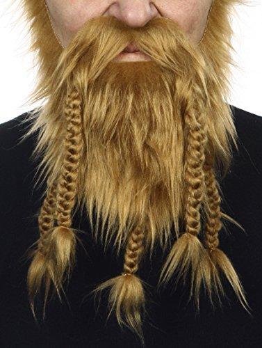 it Viking Dwarf Fälscher Bart Falsch Gesichtsbehaarung Kostümzubehör Mousy für Erwachsene Braun Farbe ()